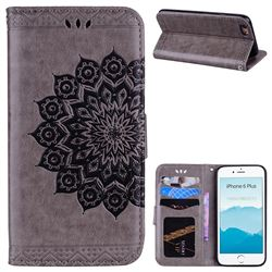 Datura Flowers Flash Powder Leather Wallet Holster Case for iPhone 6s Plus / 6 Plus 6P(5.5 inch) - Gray