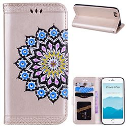 Datura Flowers Flash Powder Leather Wallet Holster Case for iPhone 6s Plus / 6 Plus 6P(5.5 inch) - Golden