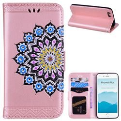 Datura Flowers Flash Powder Leather Wallet Holster Case for iPhone 6s Plus / 6 Plus 6P(5.5 inch) - Pink