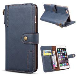 Retro Luxury Cowhide Leather Wallet Case for iPhone 6s Plus / 6 Plus 6P(5.5 inch) - Blue