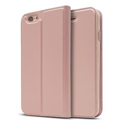 Ultra Slim Card Magnetic Automatic Suction Leather Wallet Case for iPhone 6s Plus / 6 Plus 6P(5.5 inch) - Rose Gold