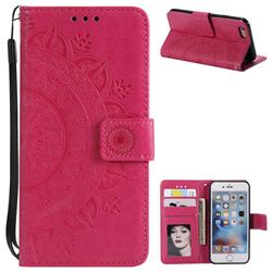 Intricate Embossing Datura Leather Wallet Case for iPhone 6s Plus / 6 Plus 6P(5.5 inch) - Rose Red