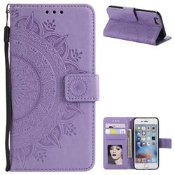 Intricate Embossing Datura Leather Wallet Case for iPhone 6s Plus / 6 Plus 6P(5.5 inch) - Purple