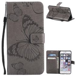 Embossing 3D Butterfly Leather Wallet Case for iPhone 6s Plus / 6 Plus 6P(5.5 inch) - Gray