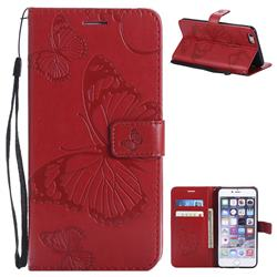 Embossing 3D Butterfly Leather Wallet Case for iPhone 6s Plus / 6 Plus 6P(5.5 inch) - Red