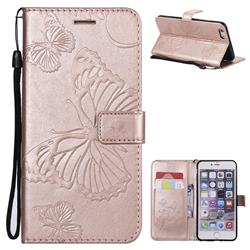 Embossing 3D Butterfly Leather Wallet Case for iPhone 6s Plus / 6 Plus 6P(5.5 inch) - Rose Gold