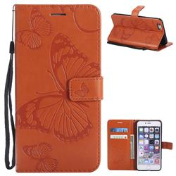 Embossing 3D Butterfly Leather Wallet Case for iPhone 6s Plus / 6 Plus 6P(5.5 inch) - Orange