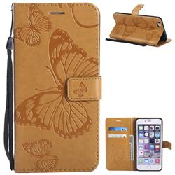 Embossing 3D Butterfly Leather Wallet Case for iPhone 6s Plus / 6 Plus 6P(5.5 inch) - Yellow