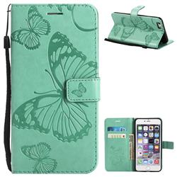 Embossing 3D Butterfly Leather Wallet Case for iPhone 6s Plus / 6 Plus 6P(5.5 inch) - Green