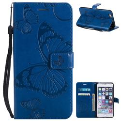 Embossing 3D Butterfly Leather Wallet Case for iPhone 6s Plus / 6 Plus 6P(5.5 inch) - Blue