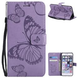 Embossing 3D Butterfly Leather Wallet Case for iPhone 6s Plus / 6 Plus 6P(5.5 inch) - Purple