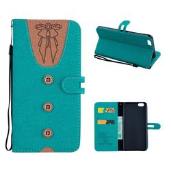 Ladies Bow Clothes Pattern Leather Wallet Phone Case for iPhone 6s Plus / 6 Plus 6P(5.5 inch) - Green
