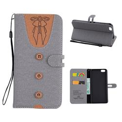 Ladies Bow Clothes Pattern Leather Wallet Phone Case for iPhone 6s Plus / 6 Plus 6P(5.5 inch) - Gray