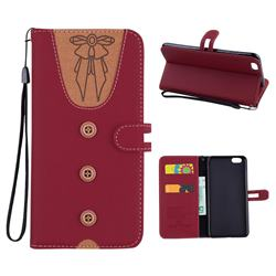 Ladies Bow Clothes Pattern Leather Wallet Phone Case for iPhone 6s Plus / 6 Plus 6P(5.5 inch) - Red