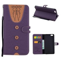 Ladies Bow Clothes Pattern Leather Wallet Phone Case for iPhone 6s Plus / 6 Plus 6P(5.5 inch) - Purple