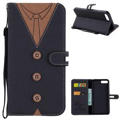 Mens Button Clothing Style Leather Wallet Phone Case for iPhone 6s Plus / 6 Plus 6P(5.5 inch) - Black