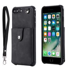 Retro Luxury Anti-fall Mirror Leather Phone Back Cover for iPhone 6s Plus / 6 Plus 6P(5.5 inch) - Black