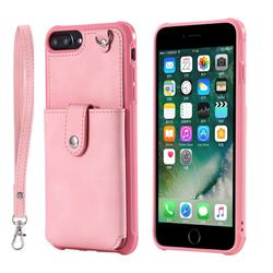 Retro Luxury Anti-fall Mirror Leather Phone Back Cover for iPhone 6s Plus / 6 Plus 6P(5.5 inch) - Pink
