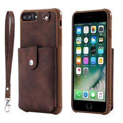 Retro Luxury Anti-fall Mirror Leather Phone Back Cover for iPhone 6s Plus / 6 Plus 6P(5.5 inch) - Coffee