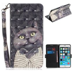 Cat Embrace 3D Painted Leather Wallet Phone Case for iPhone 6s Plus / 6 Plus 6P(5.5 inch)