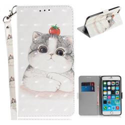 Cute Tomato Cat 3D Painted Leather Wallet Phone Case for iPhone 6s Plus / 6 Plus 6P(5.5 inch)
