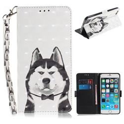 Husky Dog 3D Painted Leather Wallet Phone Case for iPhone 6s Plus / 6 Plus 6P(5.5 inch)