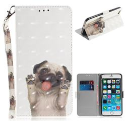 Pug Dog 3D Painted Leather Wallet Phone Case for iPhone 6s Plus / 6 Plus 6P(5.5 inch)