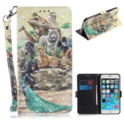 Beast Zoo 3D Painted Leather Wallet Phone Case for iPhone 6s Plus / 6 Plus 6P(5.5 inch)