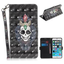 Skull Cat 3D Painted Leather Wallet Phone Case for iPhone 6s Plus / 6 Plus 6P(5.5 inch)