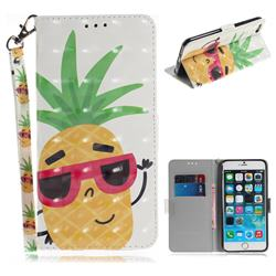 Pineapple Glasses 3D Painted Leather Wallet Phone Case for iPhone 6s Plus / 6 Plus 6P(5.5 inch)