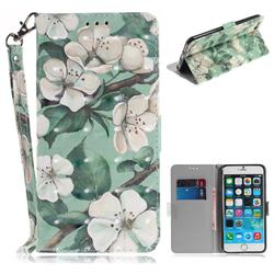 Watercolor Flower 3D Painted Leather Wallet Phone Case for iPhone 6s Plus / 6 Plus 6P(5.5 inch)