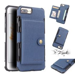 Brush Multi-function Leather Phone Case for iPhone 6s Plus / 6 Plus 6P(5.5 inch) - Blue