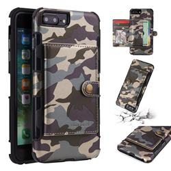 Camouflage Multi-function Leather Phone Case for iPhone 6s Plus / 6 Plus 6P(5.5 inch) - Gray