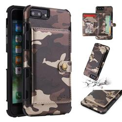 Camouflage Multi-function Leather Phone Case for iPhone 6s Plus / 6 Plus 6P(5.5 inch) - Coffee