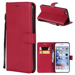 Retro Greek Classic Smooth PU Leather Wallet Phone Case for iPhone 6s Plus / 6 Plus 6P(5.5 inch) - Red