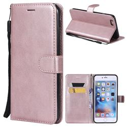 Retro Greek Classic Smooth PU Leather Wallet Phone Case for iPhone 6s Plus / 6 Plus 6P(5.5 inch) - Rose Gold