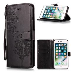 Intricate Embossing Dandelion Butterfly Leather Wallet Case for iPhone 6s Plus / 6 Plus 6P(5.5 inch) - Black