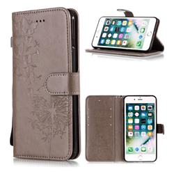 Intricate Embossing Dandelion Butterfly Leather Wallet Case for iPhone 6s Plus / 6 Plus 6P(5.5 inch) - Gray
