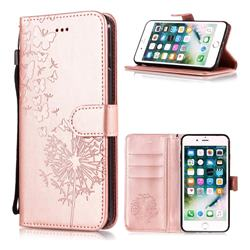 Intricate Embossing Dandelion Butterfly Leather Wallet Case for iPhone 6s Plus / 6 Plus 6P(5.5 inch) - Rose Gold