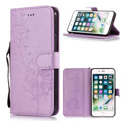 Intricate Embossing Dandelion Butterfly Leather Wallet Case for iPhone 6s Plus / 6 Plus 6P(5.5 inch) - Purple