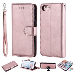 Retro Greek Detachable Magnetic PU Leather Wallet Phone Case for iPhone 6s Plus / 6 Plus 6P(5.5 inch) - Rose Gold
