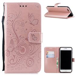 Intricate Embossing Butterfly Circle Leather Wallet Case for iPhone 6s Plus / 6 Plus 6P(5.5 inch) - Rose Gold