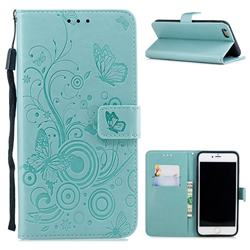 Intricate Embossing Butterfly Circle Leather Wallet Case for iPhone 6s Plus / 6 Plus 6P(5.5 inch) - Cyan