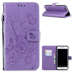 Intricate Embossing Butterfly Circle Leather Wallet Case for iPhone 6s Plus / 6 Plus 6P(5.5 inch) - Purple