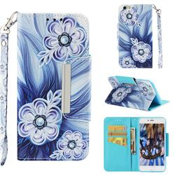 Button Flower Big Metal Buckle PU Leather Wallet Phone Case for iPhone 6s Plus / 6 Plus 6P(5.5 inch)