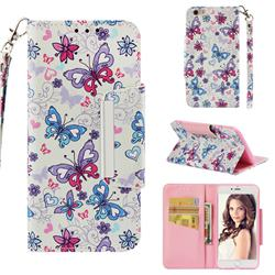 Colored Butterfly Big Metal Buckle PU Leather Wallet Phone Case for iPhone 6s Plus / 6 Plus 6P(5.5 inch)