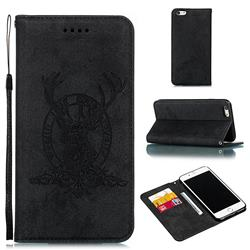 Retro Intricate Embossing Elk Seal Leather Wallet Case for iPhone 6s Plus / 6 Plus 6P(5.5 inch) - Black