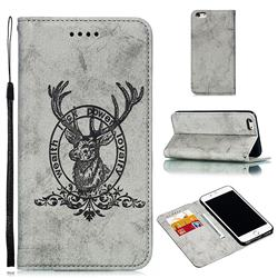 Retro Intricate Embossing Elk Seal Leather Wallet Case for iPhone 6s Plus / 6 Plus 6P(5.5 inch) - Gray