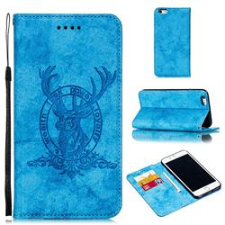 Retro Intricate Embossing Elk Seal Leather Wallet Case for iPhone 6s Plus / 6 Plus 6P(5.5 inch) - Blue