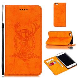Retro Intricate Embossing Elk Seal Leather Wallet Case for iPhone 6s Plus / 6 Plus 6P(5.5 inch) - Orange